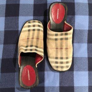 Burberry Nova Check Suede Clogs
